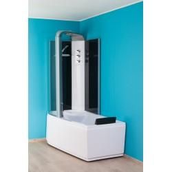 Banio Odan Combi baignoire-douche sans whirlpool gauche 170x85 cm - Blanc/Noir