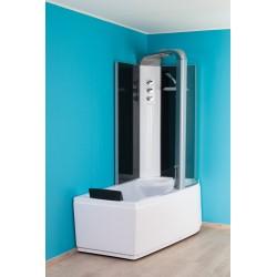 Banio Odan Combi baignoire-douche sans whirlpool droite 170x85 cm - Blanc/Noir