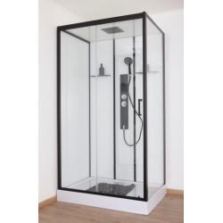 Banio Penna Cabine de douche gauche 115x85x220 cm - Noir/Blanc