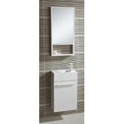 Badkamermeubel  40x23x66 cm met spiegel  wit
