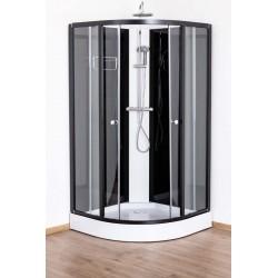 Cabine de douche Adamo de 100x100x198/215cm  noir/blanc