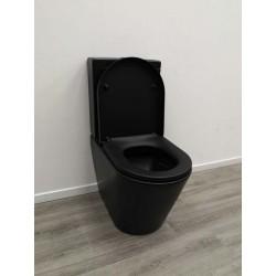 Banio zeko staande toilet Rimless met zitting en Geberit binnenwerk - Mat zwart