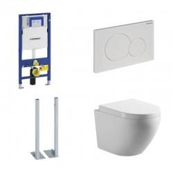 Geberit pack autoportant toilette suspendue rimless touche Sigma01 blanc et abattant soft-close - Blanc