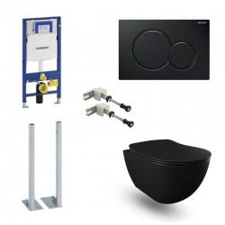 Geberit Pack autoportant Banio Design wc suspendu rimless noir mat avec Duofix Sigma systemfix et touche Noir Sigma01 Complet