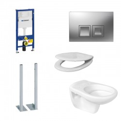 copy of Geberit Pack Duofix Delta met Hangtoilet Ideal standard met soft-close zitting en chrome toets Compleet