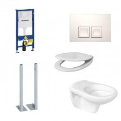Geberit autoportant Pack WC Duofix Delta Toilette suspendue ideal standard blanc, abattant soft-close et touche blanc complet