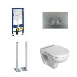 Geberit vrijstaande set hangtoilet Ideal standard met mat chrome toets