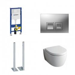 Geberit autoportant Delta Pack wc suspendu Keramag Icon blanc avec abattant softclose et touche chrome Delta50 Complet