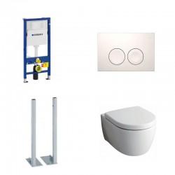 Geberit autoportant Delta Pack wc suspendu Keramag Icon blanc avec abattant softclose et touche blanche Delta21 Complet