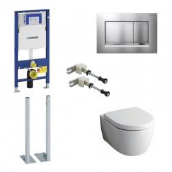 Geberit vrijstaande Sigma Systemfix Pack Keramag Icon Hangtoilet wit met softclose bril en mat chrome toets Compleet