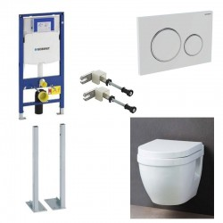 Geberit autoportant up320 Pack WC suspendu avec abattant soft-close et set de fixation complet