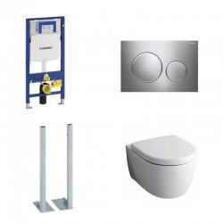 Geberit autoportant Sigma Pack wc suspendu Keramag Icon blanc avec abattant softclose et touche chrome Complet