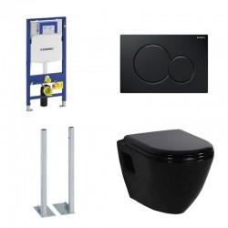 Geberit vrijstaande Pack Duofix Sigma met Design hangtoilet zwart met soft-close bril en zwarte toets