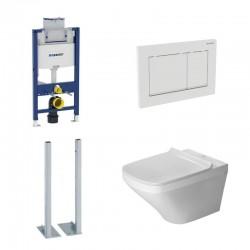 Geberit vrijstaande Omega Pack met Duravit Hangtoilet DuraStyle Rimless en durafix - Wit bedieningspaneel