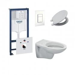 Pack wc suspendu ideal standard avec touche blanche et abattant soft close (Amortisseur)