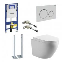 Geberit autoportant Pack wc suspendu blanc avec Geberit Duofix Sigma + set de fixation et touche blanc Complet