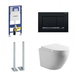 Geberit autoportant Pack wc suspendu blanc avec Geberit Duofix Sigma et plaque de commande noir brillant Complet