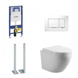 Geberit autoportant Pack wc suspendu blanc avec Geberit Duofix Sigma et plaque de commande blanc Complet