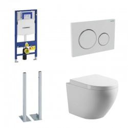 Geberit autoportant up320 Pack wc suspendu blanc avec Geberit Duofix Sigma et touche blanc Complet