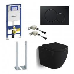 Geberit vrijstaande Pack Hangtoilet Banio-Gary glanzend zwart met Geberit Systemfix UP320 en zwarte toets compleet