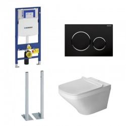 Geberit autoportant Duravit durastyle rimless et durafix pack WC suspendue - Plaque de commande Noir brillant