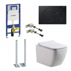 Geberit autoportant Pack Banio-Gert wc suspendu Blanc avec Geberit Systemfix up320 et plaque de commande noir Sigma01 Complet