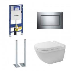 Geberit vrijstaande Pack duofix Sigma met Hangtoilet Duravit Rimless® set en Blinkend chroom bedieningspaneel