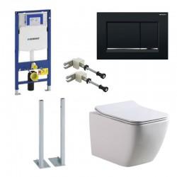 Geberit autoportant Pack Banio-Gert wc suspendu Blanc avec Geberit Duofix Sigma set de fixation et touche carré Noir Complet
