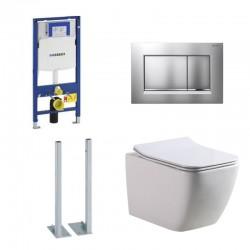 Geberit autoportant Pack Banio-Gert wc suspendu Blanc avec Geberit Duofix Sigma et plaque de commande Mat chromé Complet