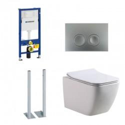 Geberit autoportant Pack Banio-Gert wc suspendu Blanc avec Geberit Duofix Delta et touche mat chromé Complet