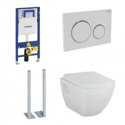 Geberit autoportant Pack avec Design cuvette suspendue blanche avec lunette soft-close design carré