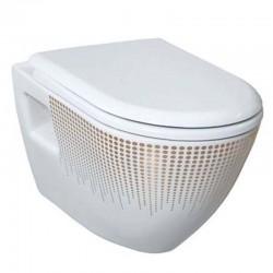 Pack Geberit avec Creavit design cuvette suspendue blanche avec structure d'or avec lunette soft close