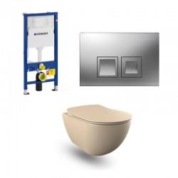 copy of Geberit Duofix wc pack hangtoilet rimless cappucino met sproeier en chroom bedieningsplaat compleet
