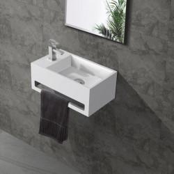 Banio Lave-mains rectangulaire avec porte-serviette trou à gauche 35,6x20,3cm blanc