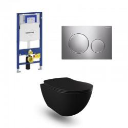 Geberit Duofix wc pack hangtoilet rimless mat zwart met sproeier en blinkend chroom/mat bedieningsplaat compleet