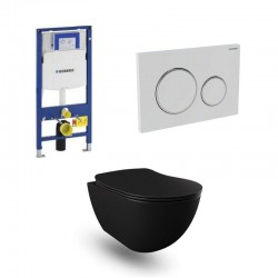 Geberit Duofix wc pack hangtoilet rimless mat zwart met sproeier en wit blinkend chroom bedieningsplaat compleet