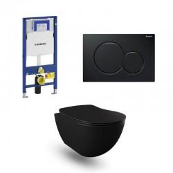 Geberit Duofix wc pack hangtoilet rimless mat zwart met sproeier en zwart bedieningsplaat compleet