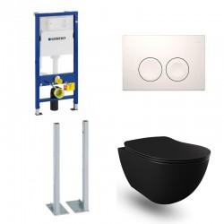 Geberit Duofix vrijstaande wc pack hangtoilet rimless mat zwart met sproeier en wit bedieningsplaat compleet