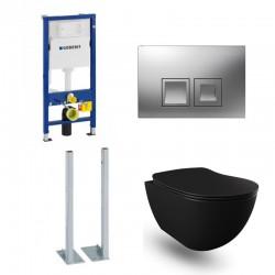 Geberit Duofix vrijstaande wc pack hangtoilet rimless mat zwart met sproeier en chroom bedieningsplaat compleet