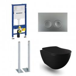 Geberit Duofix vrijstaande wc pack hangtoilet rimless mat zwart met sproeier en mat chroom bedieningsplaat compleet