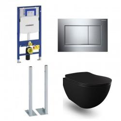 Geberit Duofix vrijstaande wc pack hangtoilet rimless mat zwart met sproeier en blinkend chroom bedieningsplaat compleet