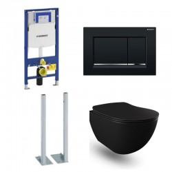 Geberit Duofix vrijstaande wc pack hangtoilet rimless mat zwart met sproeier en blinkend zwart bedieningsplaat compleet
