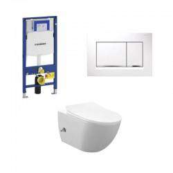copy of Geberit Duofix wc pack hangtoilet rimless wit met sproeier en koud water kraan wit bedieningsplaat compleet
