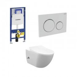 copy of Geberit Duofix wc pack hangtoilet rimless wit met sproeier en koud water kraan wit chroom bedieningsplaat compleet