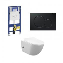 Geberit Duofix pack WC cuvette suspendu rimless blanc avec fonction bidet et robinet d'eau chaude/froide touche noi complet