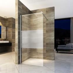 Banio paroi de douche avec verre securit 8mm 90x200cm - verre avec bande mat