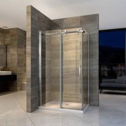 Banio paroi de douche et porte de douche coulissante avec verre securit 8mm 90x120x195cm - chrome