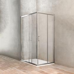 Ponsi accès d'angle avec portes coulissantes en verre securit 6mm - 80x100x190cm