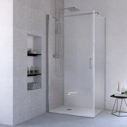 Ponsi porte de douche pivotante avec verre securit 6mm 89-92x195cm - chrome