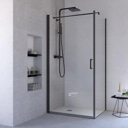 Ponsi porte de douche pivotante verre securit 6mm 89-92x195cm - noir mat